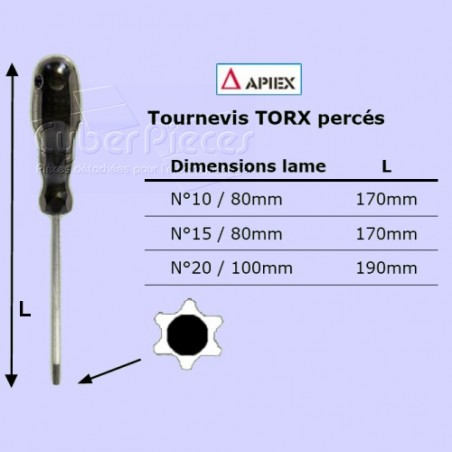 Tournevis Torx percé n°20 - lame 100mm TX20