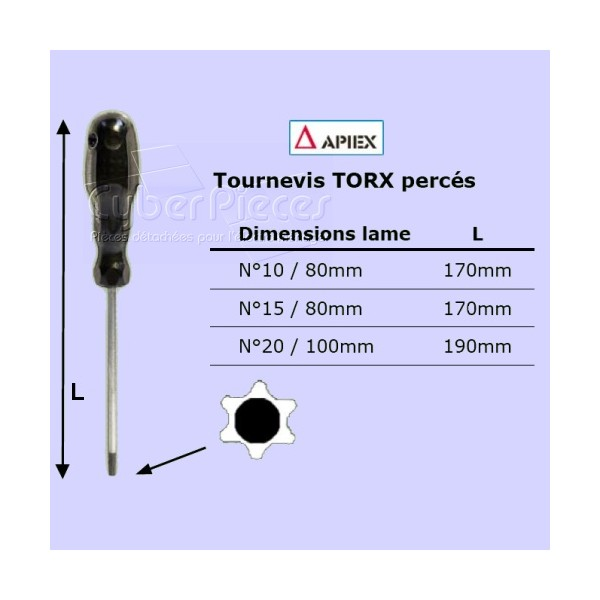 Tournevis Torx percé n°15 - lame 80mm APIEX