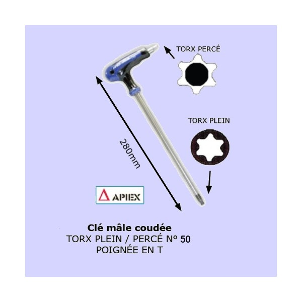 Clé mâle coudée à poignée en T - Torx - plein percé n°50 APIEX