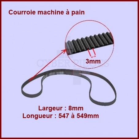 Courroie 547 à 549mm machine à pain