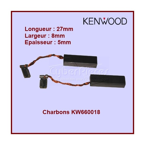 Lot de 2 charbons Kenwood - 8x5x27 - KW660018