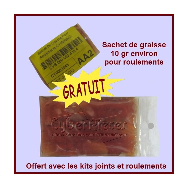 sachet de graisse pour roulements 10 gr environ pour paliers kits roulements machine a laver. Black Bedroom Furniture Sets. Home Design Ideas