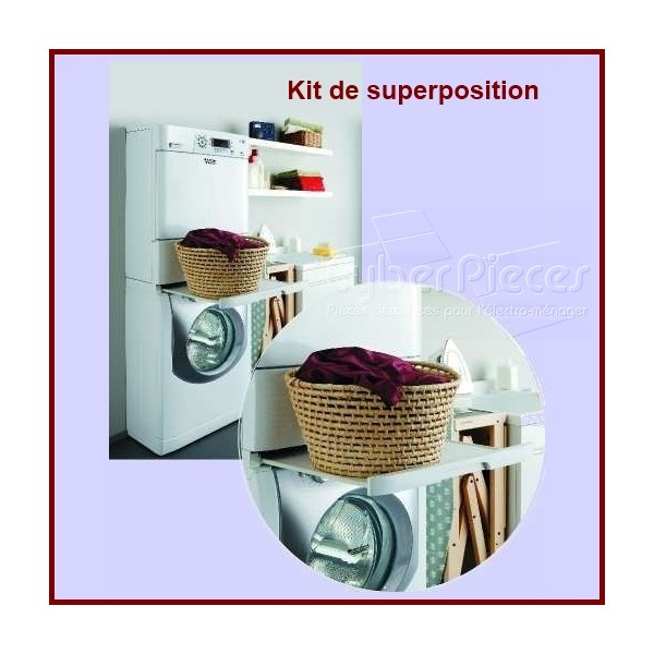 kit superposition lave linge seche linge pour seche linge lavage pieces detachees electromenager. Black Bedroom Furniture Sets. Home Design Ideas
