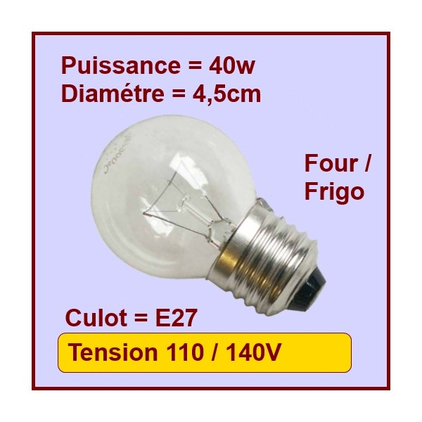 Lampe Sphérique E27 - 40w - 130v