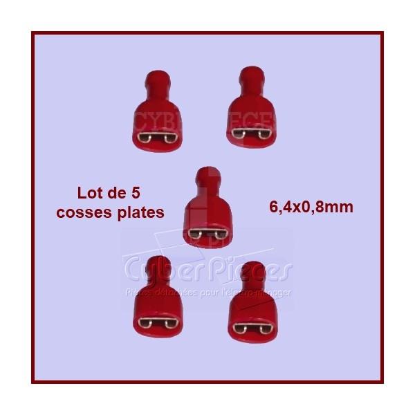 Lot de 5 cosses plates isolées 6.4x0.8mm Rouge