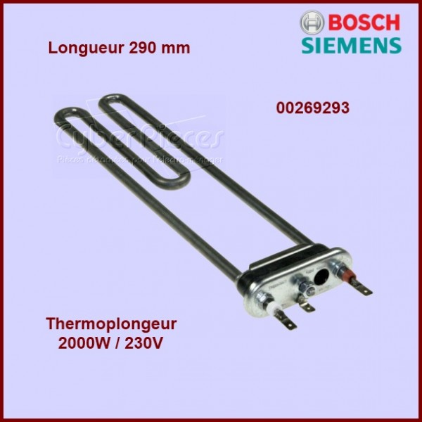 thermoplongeur 2000w 230v 290mm 00269293 pour chauffage resistances machine a laver lavage. Black Bedroom Furniture Sets. Home Design Ideas