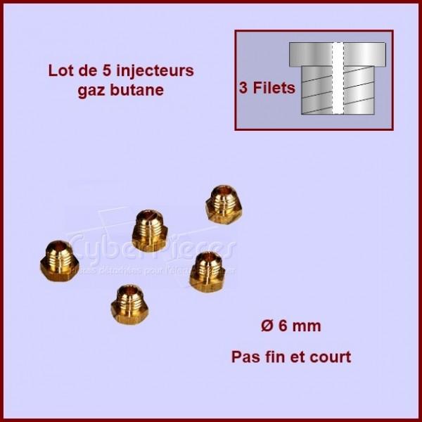 Jeu de 5 injecteurs standard pour gaz butane Ø6mm avec pas fin et court
