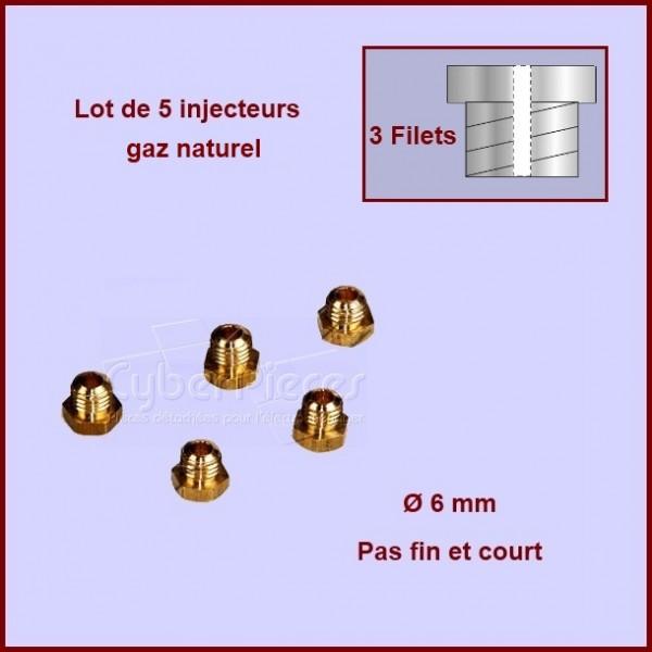 Jeu de 5 injecteurs standard pour gaz naturel Ø6mm avec pas fin et court