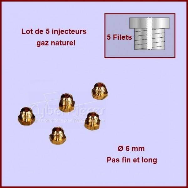Jeu de 5 injecteurs standard pour gaz naturel Ø6mm avec pas fin et long