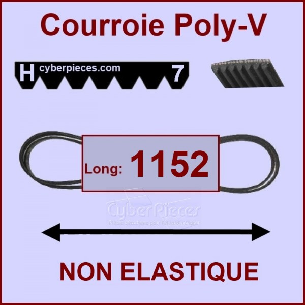 Courroie 1152 H7 non élastique