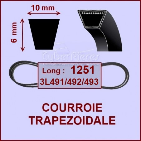 Courroie trapézoïdale 10 X 7 X 1251
