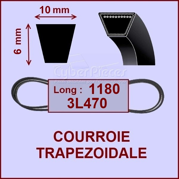Courroie trapézoïdale 10 X 6 X 1180 - 3L470