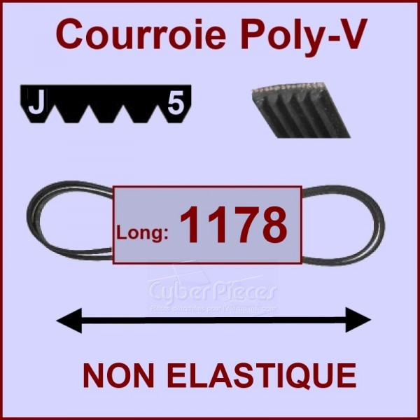 Courroie 1178 J5 non élastique