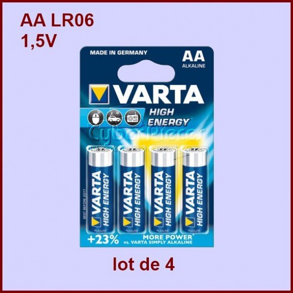 Piles alcaline LR6 1,5V VARTA 4Pcs-BLISTER HIGH ENERGY