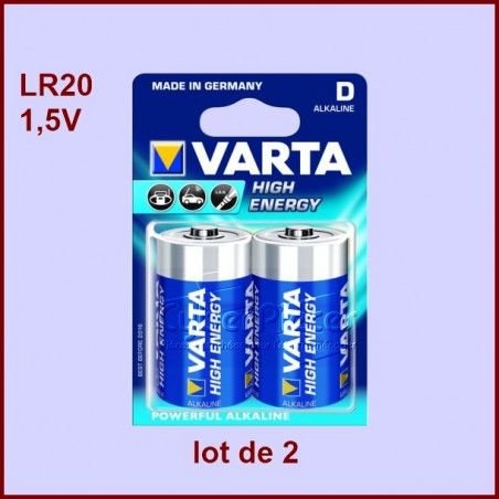 Pile alcaline 1,5V LR20 VARTA 2 pièces