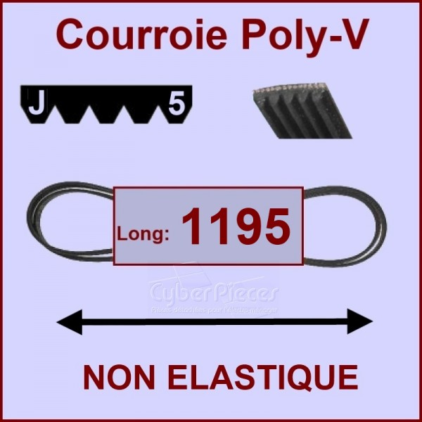 Courroie 1195 J5 non élastique