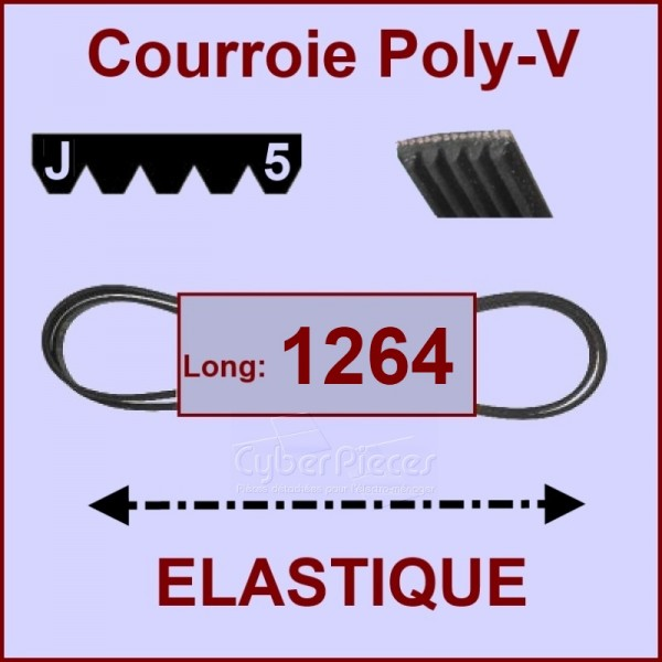 Courroie 1264 J5 - EL- élastique