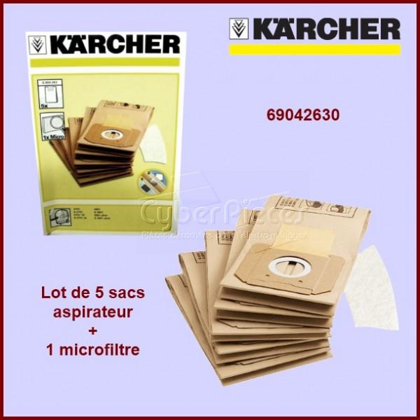 Lot de 5 sacs + microfiltre Kärcher 69042630