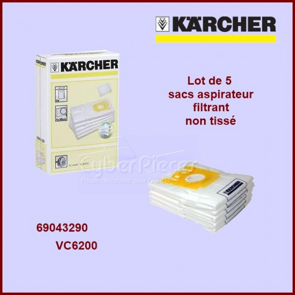 Lot de 5 sacs aspirateur Kärcher 69043290