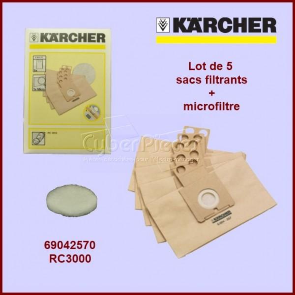 Lot de 5 sacs filtrants en papier - microfiltre Kärcher 69042570