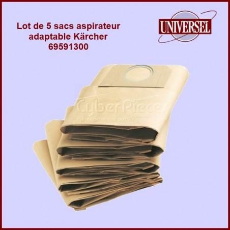 Lot de 5 sacs aspirateur Kärcher 69591300 Version adaptable