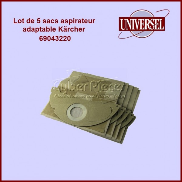 Lot de 5 sacs aspirateur 69043220 BS46 SE3001 2501- Kärcher 69043220 version adaptable