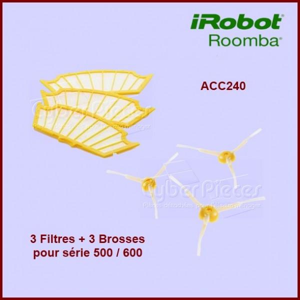 Pack 3 Filtres + 3 Brosses latérales pour Irobot ROOMBA ACC240