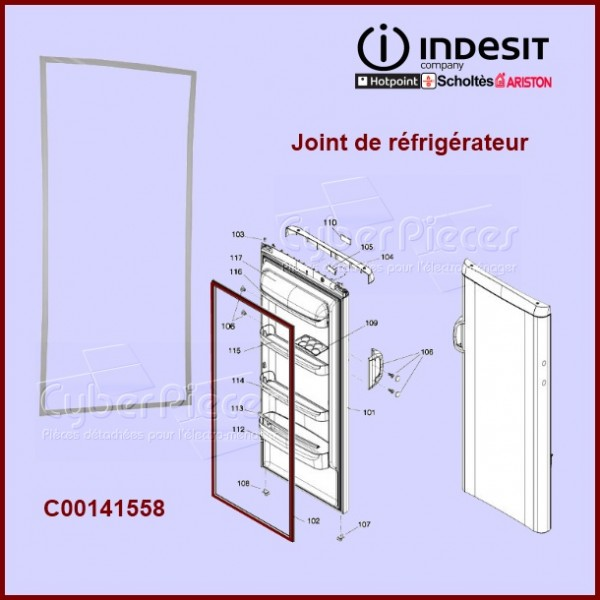 joint de porte de r frig rateur ou cong lateur c00141558 pour joints refrigerateurs et. Black Bedroom Furniture Sets. Home Design Ideas