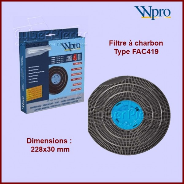 Filtre à charbon 4 en 1 Type FAC419