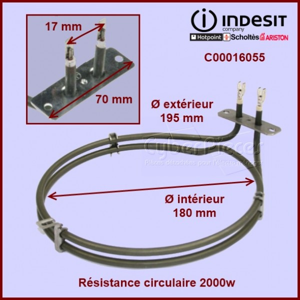 Résistance circulaire 2000w  Indesit C00016055