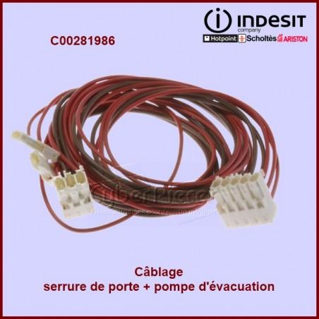 Câblage pour  serrure de porte et pompe de vidange C00281986