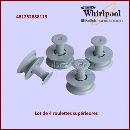 Lot de 4 roulettes supérieures Whirlpool  481252888113