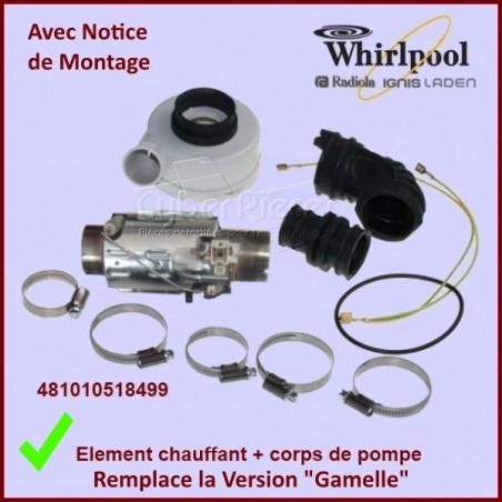 Élément chauffant 2040 w + corps de pompe Whirlpool 481010518499