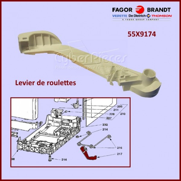 Levier de roulettes 55X9174