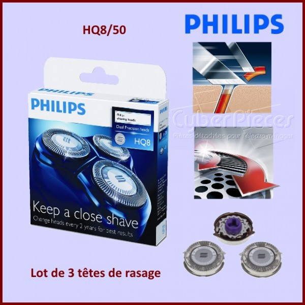 t te de rasoir philips hq8 40 hq8 50 pour hygiene petit electromenager pieces detachees. Black Bedroom Furniture Sets. Home Design Ideas
