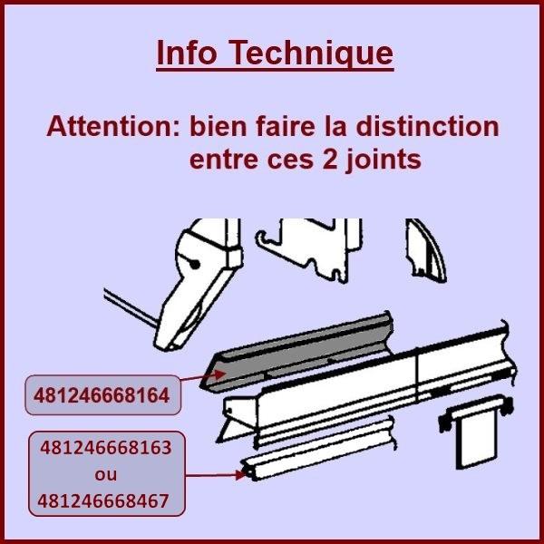 joint bas de porte whirlpool 481246668164 pour joints (bas et tour