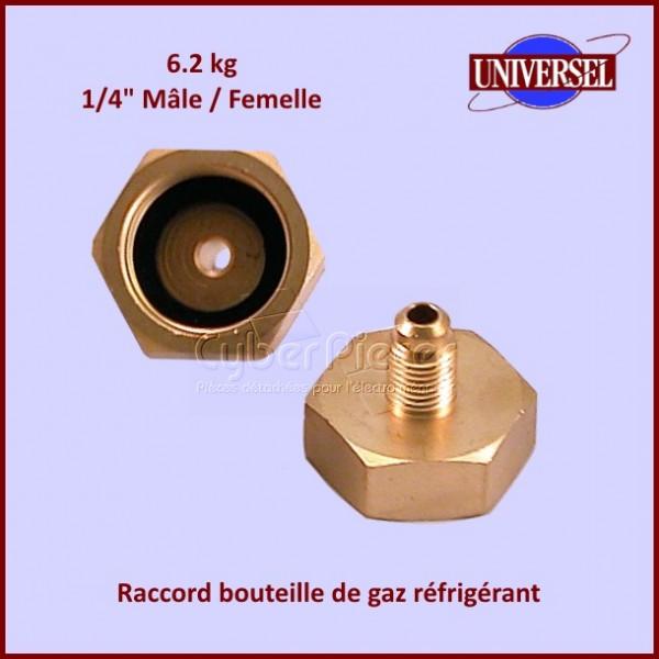"""Raccord bouteille de gaz réfrigérant 6.2kg 1/4"""" mâle / femelle"""