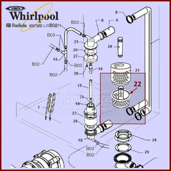 Filtre 483286011323  pour Lave-vaisselle PRo