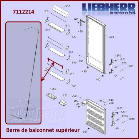 Barre Supérieure du Balconnet Liebherr 7112214