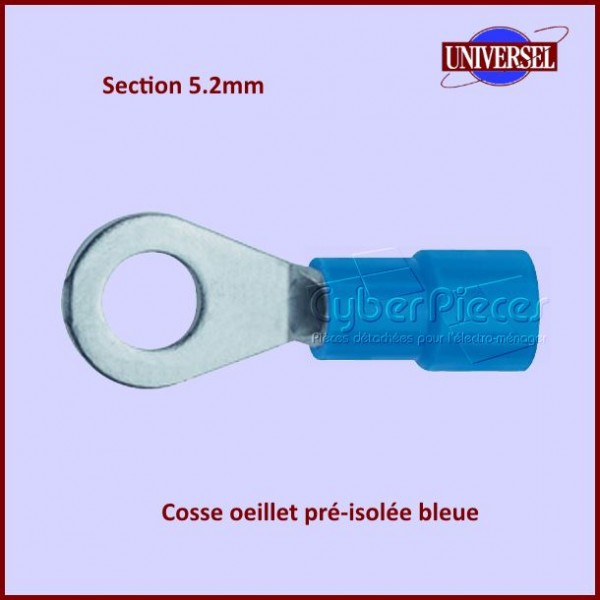 Cosse oeillet pré-isolée bleue - Section 5.2mm