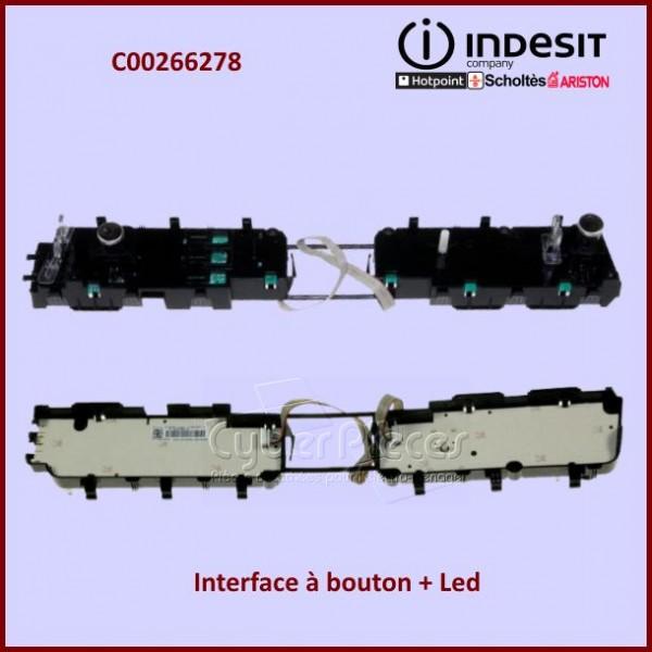 Interface à bouton + Led (inox) Indesit C00266278