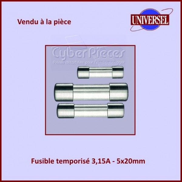 Fusible 3,15A Temporisé 5x20mm en verre