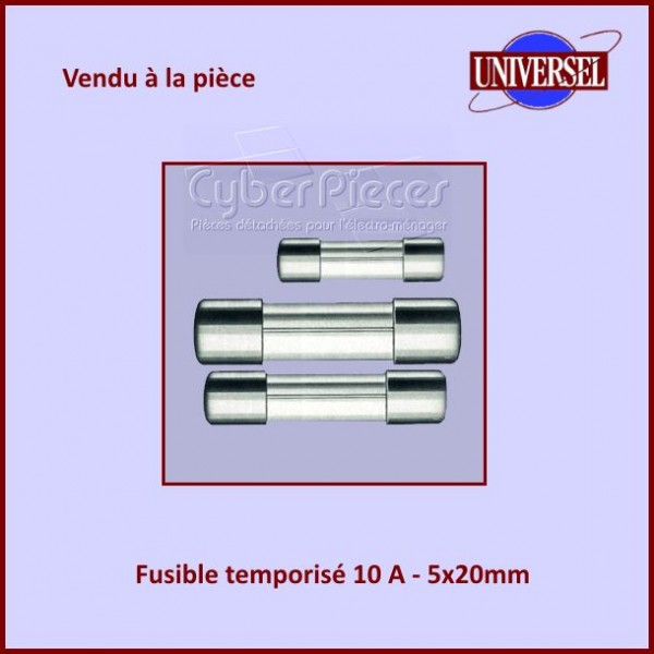 Fusible 10A Temporisé 5x20mm en verre