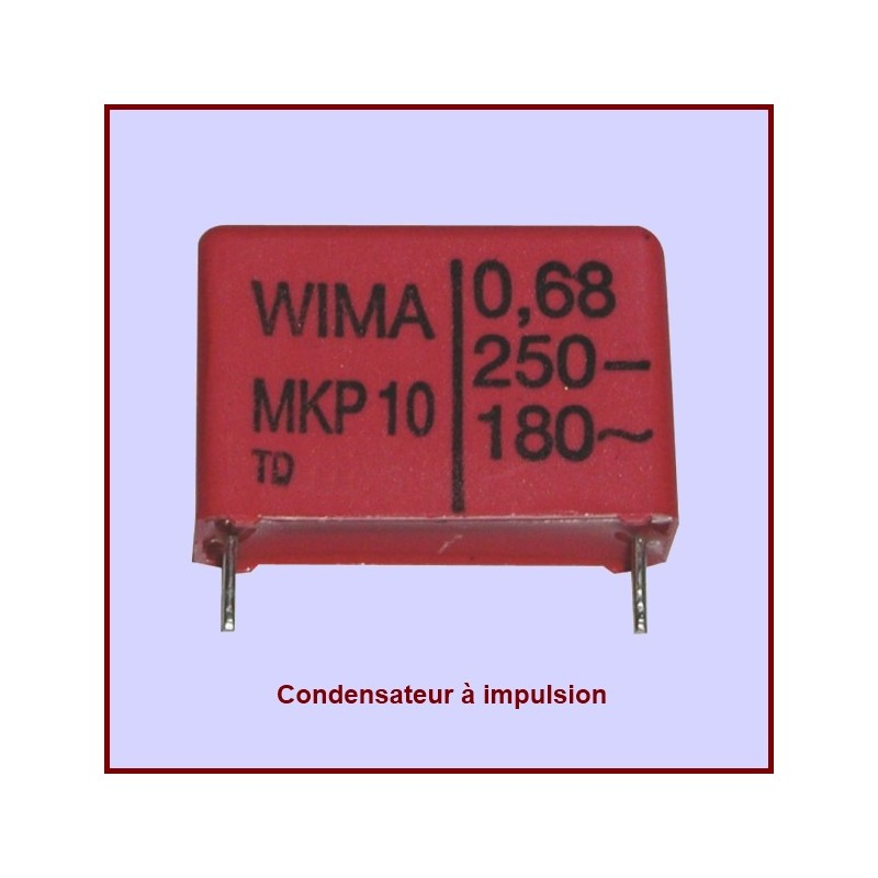 Condensateur à impulsion 0.68µF (0.68MF) -250 Volts maxi.