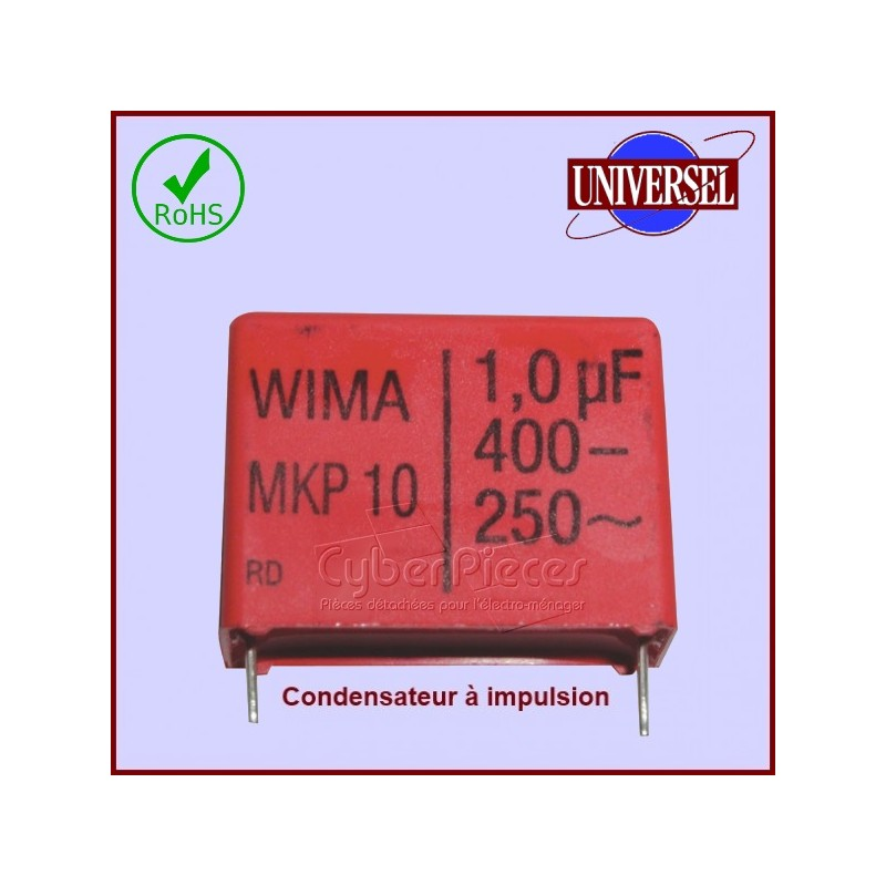 Condensateur à impulsion 1.0µF (1.0MF) - 450 Volts maxi.