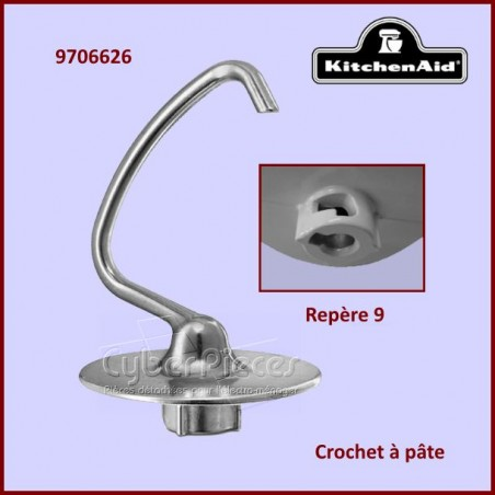 Crochet à pâte aluminium K45BDH Kitchenaid 9706626
