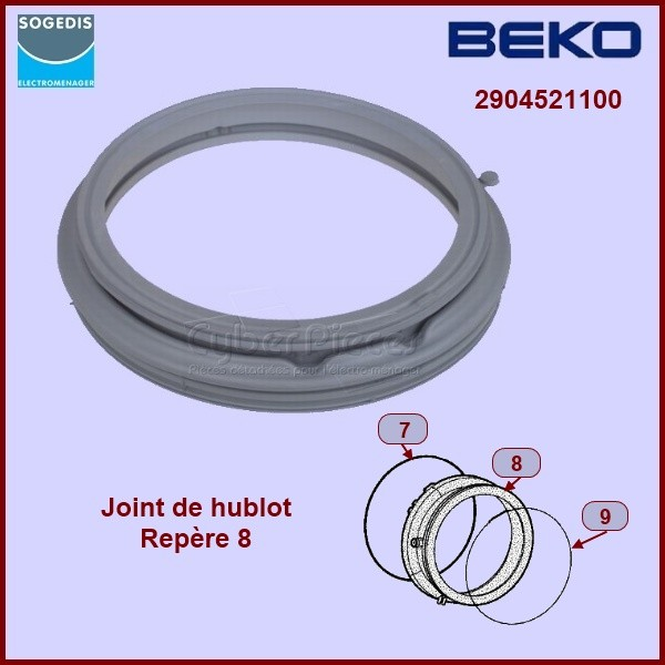 Manchette de hublot beko 2904520100 pour manchette joint de hublot machine a laver lavage pieces - Changer joint hublot machine a laver ...