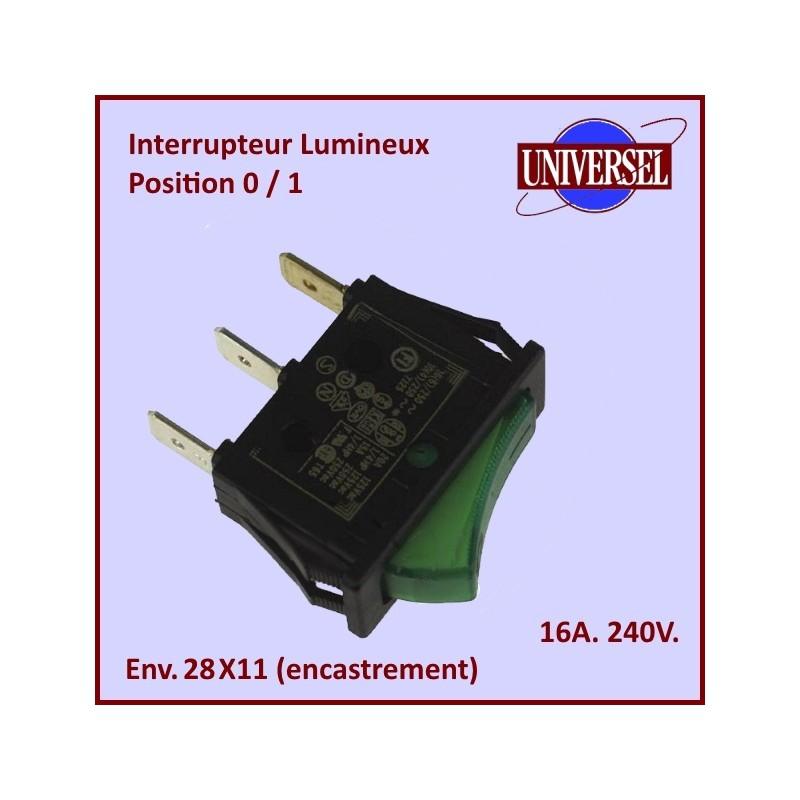 Interrupteur M/A  Lumineux vert universel