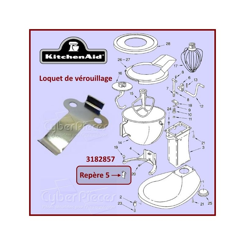 Languette de verrouillage du bol Kitchenaid 3182857