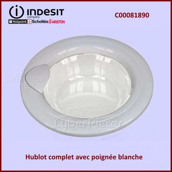 Hublot complet poign e blanche indesit c00081890 pour - Stickers pour machine a laver hublot ...